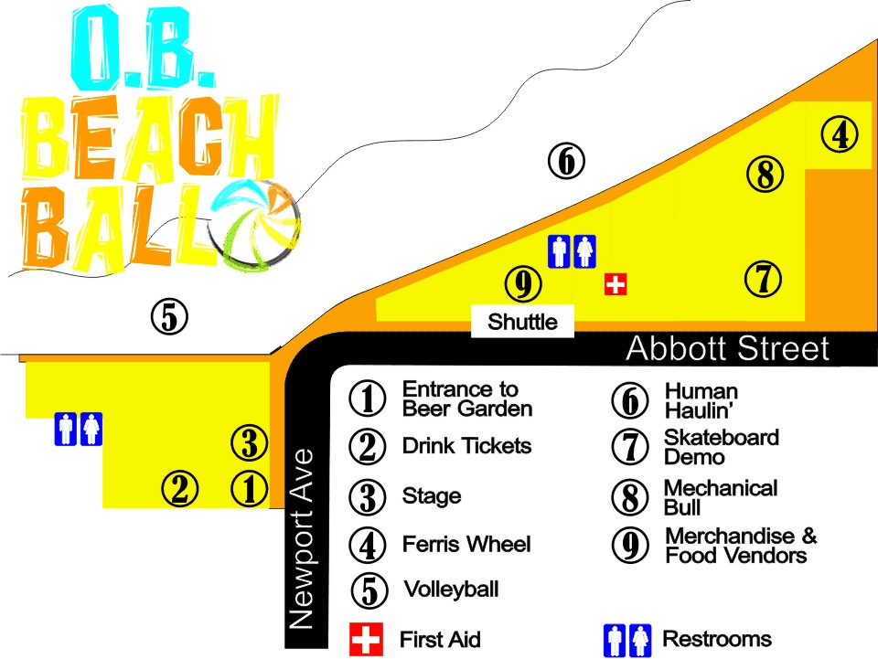 2011 OB Beach Ball Site Map